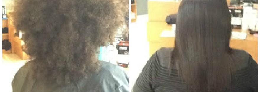 Coiffure Saida - photo avant après lissage sur cheveux haitiens